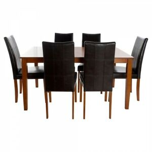 TABLE SET WITH 6 CHAIRS DKD HOME DECOR OAK (7 PCS)
