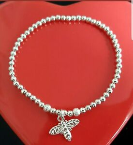 women's silver plated ball bead stretchy stacking bracelet with bumble bee charm