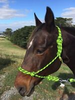Rope Halter, Rope Headstall with 9ft lead Pony Cob Full XFull Fluoro Green