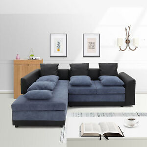 SCANDI LARGE SEATER CORNER SOFA GREY CORD FABRIC BLACK FAUX RIGHT OR LEFT SIDE