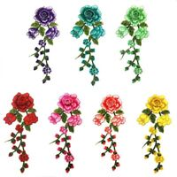 DIY Embroidery Rose Flower Sew On Patch Badge Bag Jeans Clothes Floral Applique