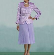 plus sz 22W  Andi Pleated Church Skirt Suit lavender by Ashro new