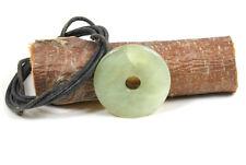 Donut Anhänger SERPENTIN ca. 40 mm, mit Lederband! PI-Stein, Pi-Scheibe !NEU!