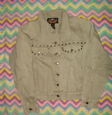 Womens Gray Harley Davidson Denim Button-up Jacket -- Size Medium