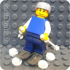 R6skier - Lego City Skier Minifigure with Helmet Stop Rings Skis & Snowballs NEW