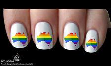 Rainbow Australia Map Mardi Gras Nail Art Sticker Water Transfer Decal 28