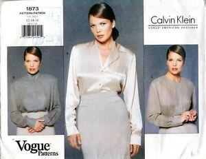 1990s Vogue Sewing Pattern 1873 Calvin Klein Misses Blouse Size 12-16