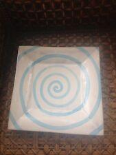 MacKenzie Childs Ceramic Wallcourt Platter Blue Swirl Plate 12 X 12 Rare Pottery