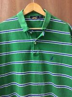 Nautica Polo Shirt Short Sleeve Green Navy Blue White Striped Mens XL