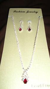 Fashion Jewelry Red Tear-drop Rhinestone Necklace & Earrings Set
