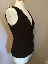"""Gharani Strok Black Sleeveles Top with Waterfall Design to Front - Size 12 / 34"""""""