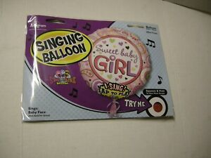 """Balloon, Sweet Baby Girl, Sings """"Baby Face,"""", Pink, 28"""", By Anagram, Brand New"""