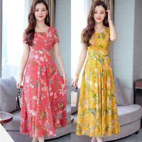 Women Floral Dress Slim  Plus Size L-3XL Print Short Sleeve O-neck Long Dresses