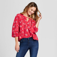 NEW Universal Thread Women's Long Sleeve Printed Woven Top – Red - Size L