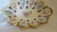 Imperial Vienna Large Serving Bowl M. Z.  Austria Pink Flowers Scalloped Pale