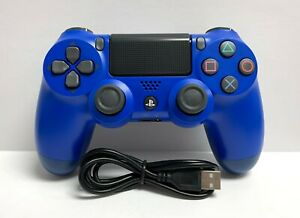 Wave Blue Dualshock Wireless PS4 Controller for Playstation 4 + USB Cable