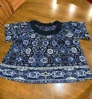 Lucky Brand Women's Short Sleeve Blue Floral Top Size XL w/ Crochet Neckline NEW