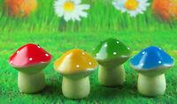 Set Of 4 Solar Mushroom Lights 9cm Ornaments