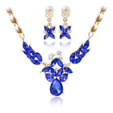 Women African Rhinestone Blue Zircon Gold Plated Necklace Earrings Jewelry Sets