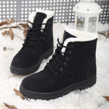 Winter Womens Casual Warm Wool Lace-up Ankle Boots Martin Snow Boots Shoes