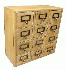 Handmade Wooden Shabby Storage Chest of 12 Drawers Organiser Cabinet Cupboard