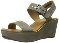 CLARKS Aisley Orchid Sage Suede Wide Fit Cushioned Slingback Wedged Sandals UK 6
