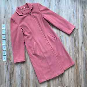 VINTAGE Carlot Corp Rose Pink Wool/Cashmere Coat Lucite Buttons - 1960s - SMALL