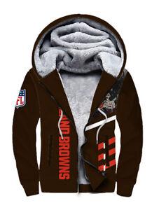Cleveland Browns Hoodie Warm Fleece Sweatshirt Winter Hooded Jacket Zip Up Coat