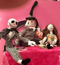 "Nightmare Before Christmas Disney Store Plush 18"" Jack, 17"" Sally, 14"" Mayor NWT"