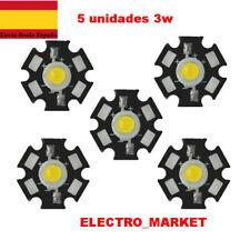 5unids/lote LED de alta potencia de 3W Blanco Frio  con disipador estrella