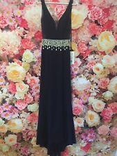 Gino Cerruti Long Midnight Blue Black Silver Detail Prom Gown Evening Dress UK 8