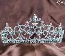 Flowers Tiara Crown W/ Hair Combs Clear Rhinestone Wedding Prom Hair Accessories