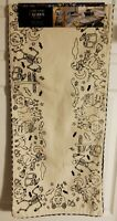 Cynthia Rowley Curious Halloween Table Runner Witches Skeletons Cats Pumpkins