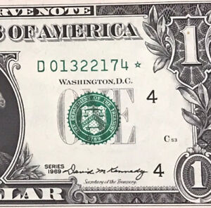 Wow STAR NOTE 1969 $1 DOLLAR BILL ( CLEVELAND ) UNCIRCULATED