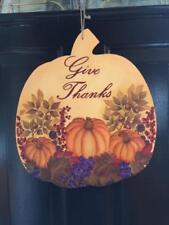 Give Thanks Fall Thanksgiving   Hand Painted - One of a Kind