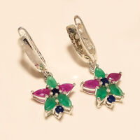 Natural Emerald Ruby Sapphire Earring 925 Sterling Silver Christmas Fine Jewelry