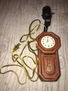 """Unique Vintage 11"""" Grandfather Clock Shaped Wall Lamp Works Great"""