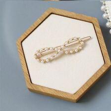 Pearl Gold Infinity Hair Clip Pin Twist Knot Wedding Bride Bridal Boho Bridesmai