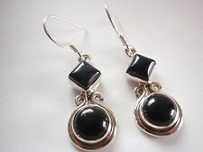 Black Onyx Circle and Square Double-Gem 925 Sterling Silver Dangle Earrings