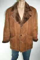 SHEARLING GIUBBINO MONTONE UOMO PELLE TG.52 MAN VINTAGE LEATHER COAT/JACKET L310