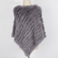 Women Real Fur Knitted Poncho Casual Outwear Shawl Round Neck Cape Ladies 1071