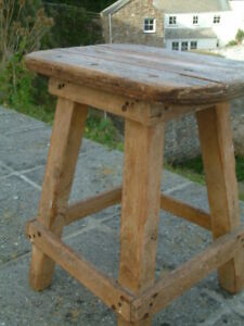 STUNNING VINTAGE ANTIQUE WORKSHOP FACTORY WORKBENCH RUSTIC STOOL, ORIGINAL   .