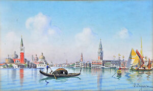 UMBERTO ONGANIA (1867-1942) Original watercolour St Mark's Basilica Venice 1900