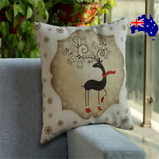 Christmas Deer Cotton Linen Cushion Cover Pillow Case Square Home Decor Gift ON