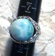 Beautiful 17mm Blue Larimar RING 925 Solid STERLING SILVER Size 7