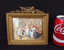 Antique European School Miniature Painting Woman Visit Scene W Gilt Bronze Frame
