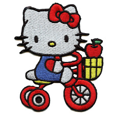 Hello Kitty On Tricycle With Apple Iron On Embroidered Patch