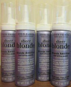 Lot of 4 John Frieda Sheer Blonde Ambition dual action Mousse 2 oz
