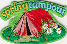 """SPRING CAMPOUT"" PATCH -Iron On Embroidered Applique/ Vacation, Outdoors, Woods"