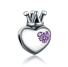 Love Crown CZ 925 Silver Charm Beads Fit sterling Bracelet Necklace Chain #D264